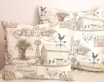 Pair Country Farmhouse Pillows Farm Chickens Barn Taupe Brown Ivory Neutral Decor Cottage Chic