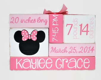 Minnie Mouse Inspired Baby Birth Stat Nursery WoodenBlock Shelf Sitter Stack