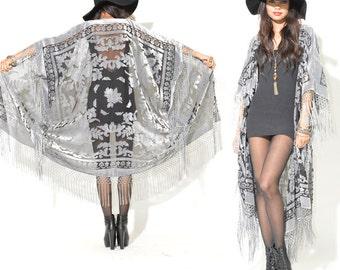 Sheer Silk Burnout Velvet Fringe Hippie Boho Gypsy Cape Festival Kimono Jacket
