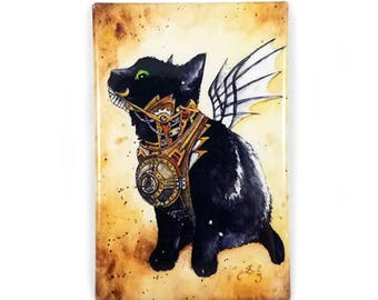 A Flying Machine Magnet: Watercolour Steampunk Black Cat