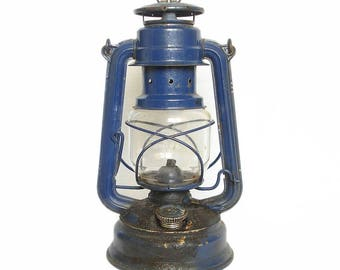 Antique German Feuerhand Nr. 276 Lantern. Feuerhand Lantern German Oil Lamp. Cobalt Blue FEUERHAND Kerosene Lamp. Rail Road Lamp, Industrial