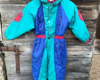 Vintage Kids Snowsuit Colorblock Children's Ski Suit Blue Mint Green One Piece Ski Suit Winter Activewear Suit Warm Skiing Suit 8ANS