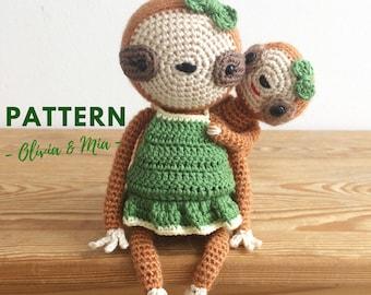 Olivia & Mia | Crochet Sloth Pattern, Crochet Sloth, Crochet Doll Pattern, Amigurumi Doll Pattern, Amigurumi Sloth, Amigurumi Sloth Pattern