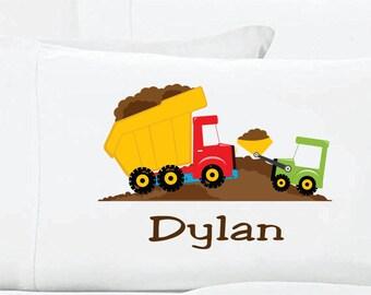 Personalized Dump Truck Pillow Case Construction PillowCase