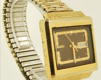 Seiko vintage automatic (with day and date) wrist watch, 17 Jewels, extra heavy yellow gold plated & stainless steel wide rectangular case