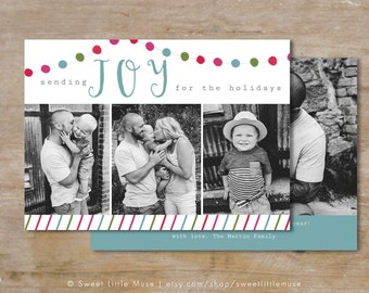 Christmas card template , Holiday photo card template, Colorful christmas card, Photo Christmas Card Template
