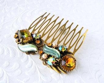 Fabulous Vintage FLORENZA Hair Comb Art Glass Givre Rhinestone Hairpiece Green Amber Gold Aurora Borealis AB Rhinestone Jeweled Headpiece