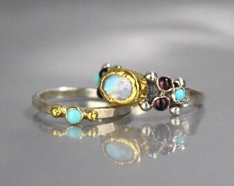 Turquoise Wedding Ring Set, Turquoise Ring, Stacking Rings, Wedding Ring,Turquoise  Birthstone, Stackable, Birthstone Gift, Natural Turquoise