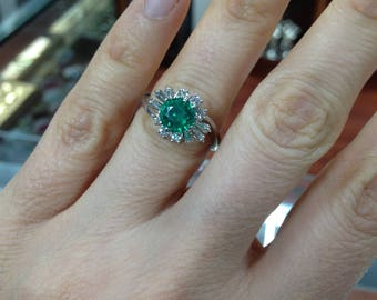 Colombian Emerald Ring, Emerald Ring, Vintage Style Emerald and Diamond Ring, Diamond and Emerald Ring, Vintage Style Ring