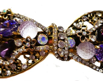 New Dark & Light Amethyst Crystal 3'' Hair Barrette