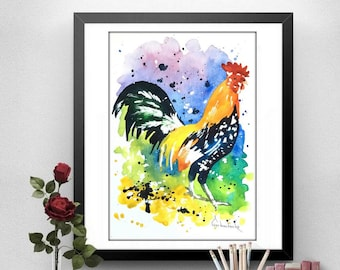 Rooster Art Chicken Original Watercolor Painting - room Decor kitchen decor
