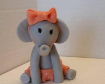 Baby Girl elephant edible cake topper