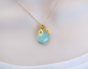 Aquamarine Necklace,  Custom Initial Necklace, Two Initial Necklace, Gemstone Necklace, Personalized Jewelry, March birthstone, Delicate