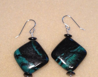 Green and Black Jasper Earrings with Hematite Gemstones on Sterling Silver Ear Wires 1.75 Inches Long Previously Twenty Five Dollars ON SALE
