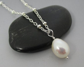 Simple Ivory Drop Sterling Silver Necklace
