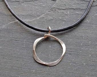 Circle Pendant Necklace, Large Circle Pendant, Pendant Necklace, Sterling Silver Pendant, Silver Circles Necklace, Leather Cord Necklace