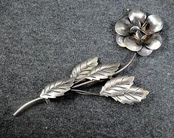 Sterling Silver Rose Brooch | Vintage Women's Brooch
