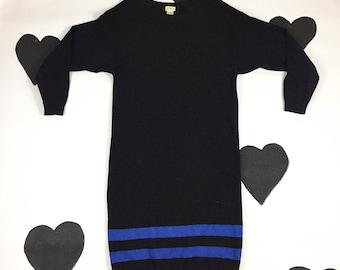 80's black wool angora knit sweater dress 1980's loose long sleeve tube striped minimal new wave punk sweater dress / midi / dolman / size M