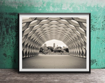 "Chicago art photography print ""Tunnel"" -  skyline view"