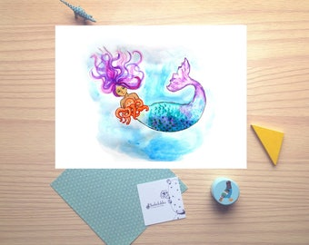Mermaid, baby octopus, purple and blue, watercolor illustration, print, nursery decor, wall decor