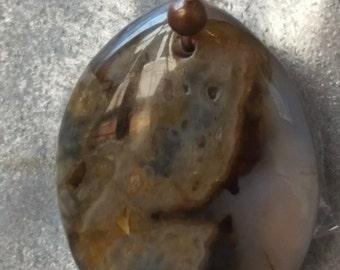 SALE  Brown and Clear Jasper Necklace Teardrop Pendant