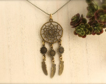 Dreamcatcher Sunflower Feather Long Necklace