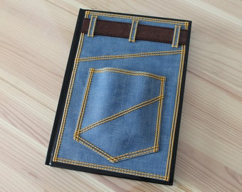 Note pad with cover Fimo polymer clay representing jeans with a pocket and belt