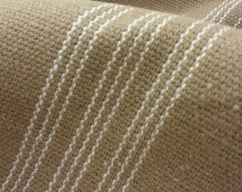 """Grain Sack Fabric - Farmhouse Tan Fabric - Cream 9 Stripe - 51"""" Wide - Upholstery Weight - CONTINUOUS CUT"""