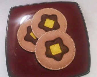 Felt play food - pretend food - play kitchen food - 3 Felt pancakes - Pretend Felt Food with butter and syrup #PF2507