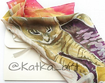 Silk scarf. Hand painted scarf. Women accessories. Art Gift. Fibre  art. Animal lover gift.  Cat lover gift. Scarf women. Wearable art.