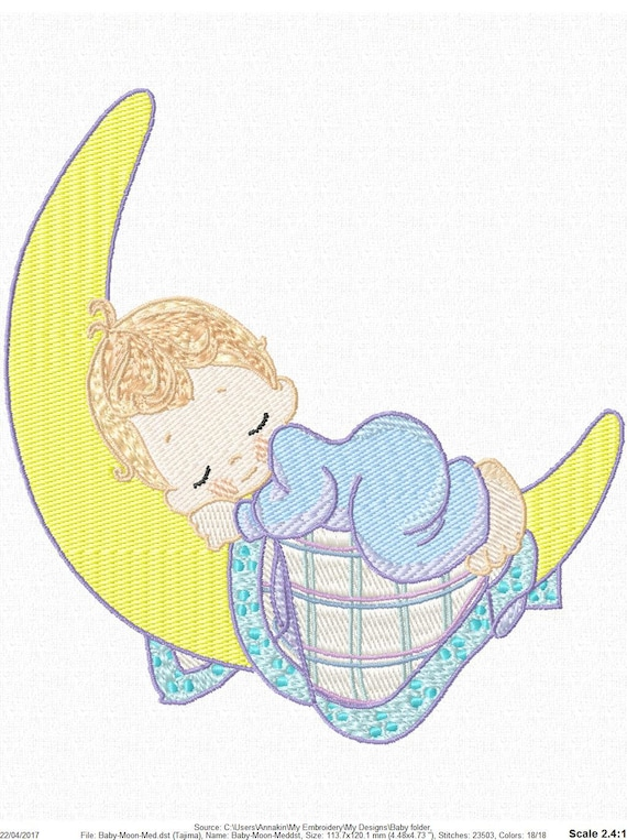 Sleeping Baby On Moon Machine Embroidery Design 3 Sizes