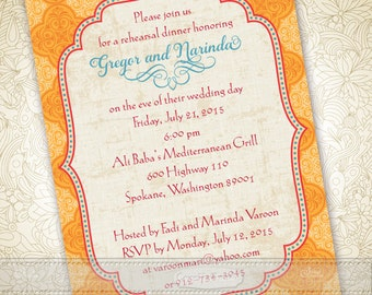 wedding invitations, goldenrod wedding invitations, Moroccan wedding invitations, tangerine tango bridal shower invitations, IN364