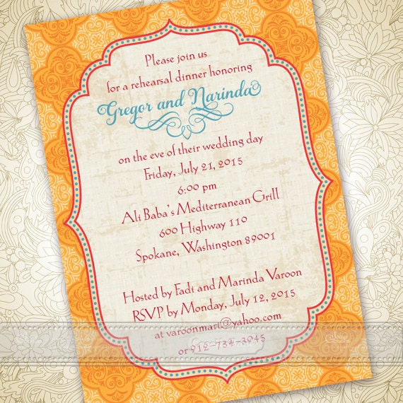 wedding invitations, goldenrod wedding invitations, Moroccan wedding invitations, tangerine tango bridal shower invitations, IN364