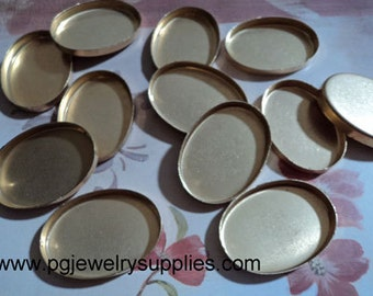 25mm x 18mm oval brass high wall bezel cup settings cabochons cameo HW 12 pieces lot l