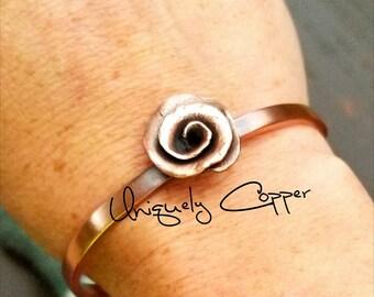 7th Anniversary, Copper Anniversary, Copper Cuff Bracelet, Anniversary Gift, Mother's Day, Bracelets, Copper  Bracelet, Copper Rose Bracelet