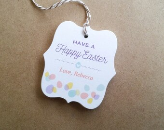 Happy Easter favor tags - Colorful Easter eggs tags - Personalized Easter favor tags - Easter party tags - Tags for Easter baskets - TH24