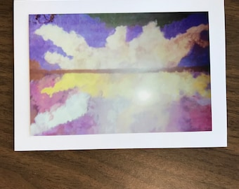 "Greeting Card ""Purple Sunset on Golden Pond"