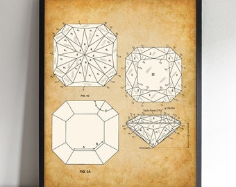 Princess Cut Diamond - Printable Art - Great Gift for Gemologists, Jewelers or Bathroom Decor - Instant Download