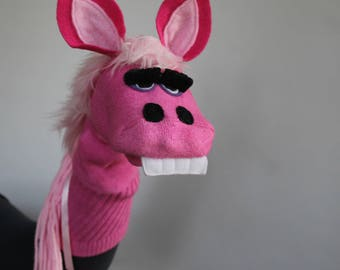 Handmade Horse Sock Puppet Pink Pony Sock Puppet Pink Donkey Sock Puppet