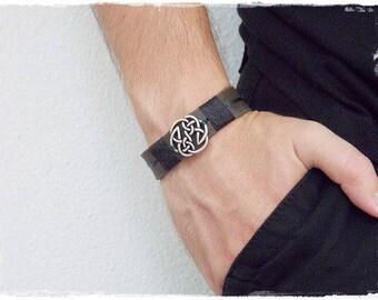 Celtic Leather Bracelet, Men's Leather Bracelet, Pagan Bracelet, Celtic Men's Bracelet, Leather Norse Bracelet, Viking Protection Bracelet