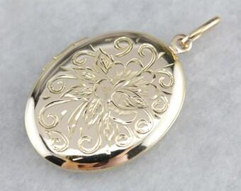 Etched Rose Locket, Oval Floral Locket, Gold Locket, Anniversary Pendant 0V3N23-N