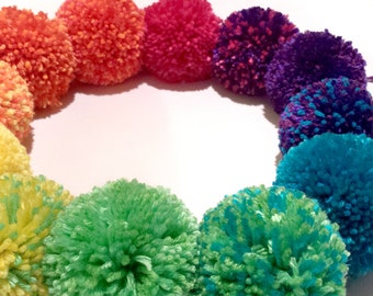 """Rainbow Pom Pom Ornaments - Set of 12 Prism Of Rainbow Magic Awesomeness - Available In 3"""" or 4"""" - Magical Unicorn Christmas Decorations"""
