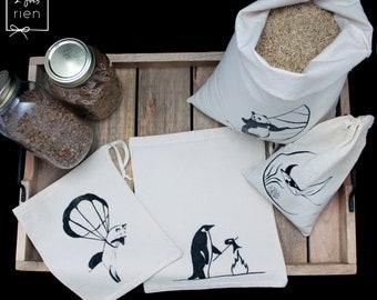 4 bags in bulk bags reusable cotton, printed hand bags zero waste, panda, Penguin, Fox, Ray