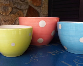 3 Small Pastel Polka Dot Nesting Bowls For Prep or Candy
