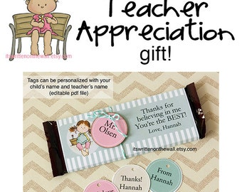 Teacher Appreciation Candy Bar Wraps / Personalized Child's Name and Teacher's Names /End of Year Teacher Appreciation Gift