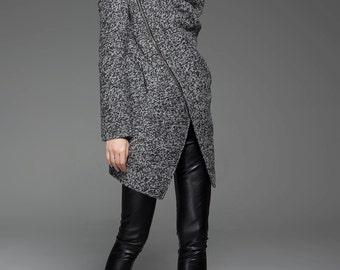 Wool coat, winter coat, womens coat, black wool coat, gray winter coat, Asymmetrical coat, warm winter coat, short coat, handmade coat C745