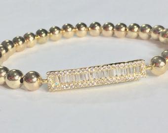 Baguette cz bar bracelet