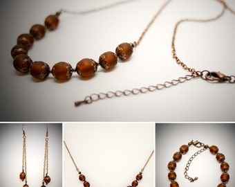 Art Nouveau Vegan Necklace, Bracelet and Earrings Set / Unique and Ethical Steampunk and Vintage Jewellery Set