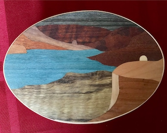 Shaker Box with Columbia River Gorge marquetry