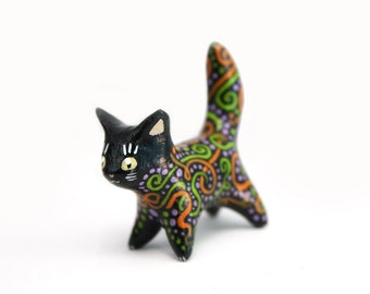 Black cat figure animal totem figure fantasy creature figure velvet clay polymer clay figurine clay miniature Birthday gift halloween gift